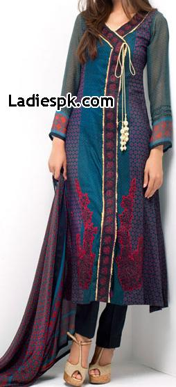 Angrakha Style Long Shirt Fashion Libas Embroidery Collection 2013