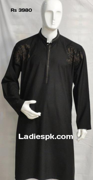 black fancy bonanza kurta shalwar kameez men boys wedding party 2013 price Latest Party Wear Black Kurta Men Boys With Price 2013