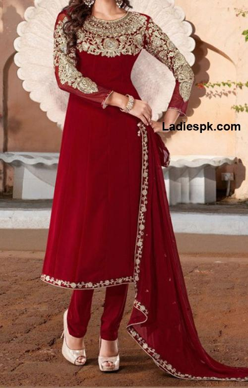 Fancy Red Boutique Style Long frock design for wedding 2013 for Girls