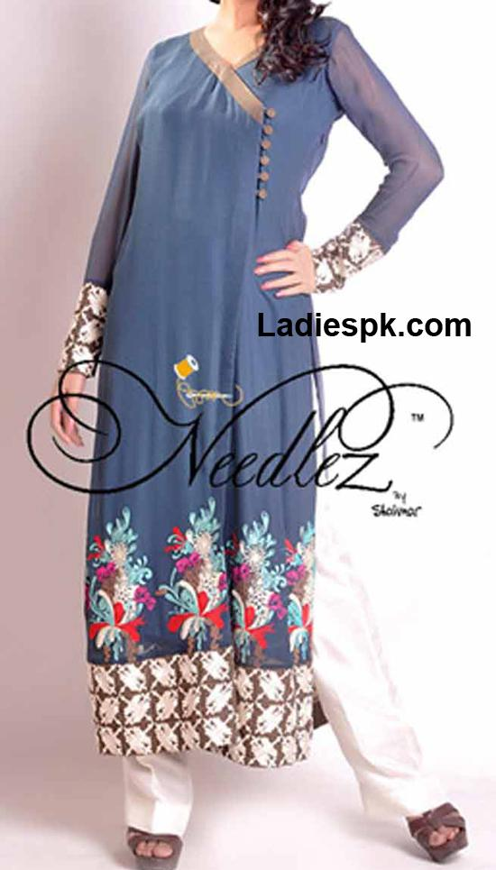 girls angrakha style shirt 2013 in summer needlez Angrakha Style Long Shirt Fashion 2013 in Pakistan India