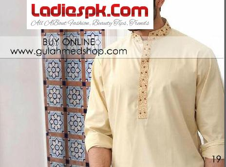 Gul Ahmed Kurta Designs for Men 2013 Cotton Shalwar Kameez