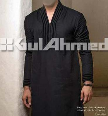 Gul-Ahmed-Men's-Kurta-Shalwar-Summer cotton Black