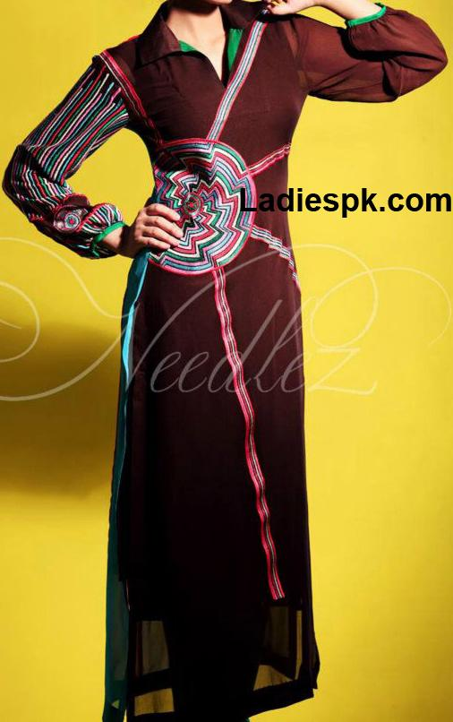 needlez collection girls long shirt style 2013 in summer needlez Angrakha Style Long Shirt Fashion 2013 in Pakistan India