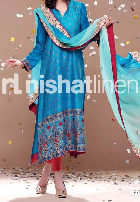 eautiful nishat-linen-eid-collection-2013-lawn for Women & Girls Kameez Choori Pajama Design