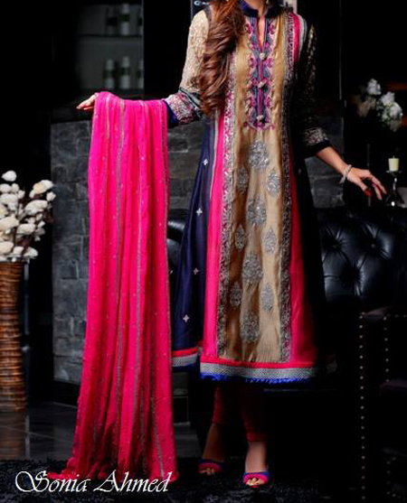 frock wedding dresses sonia ahmed collection summer 2013 for girls choori pajama Top Fancy Wedding & Party Dresses 2013, Frocks for Girls