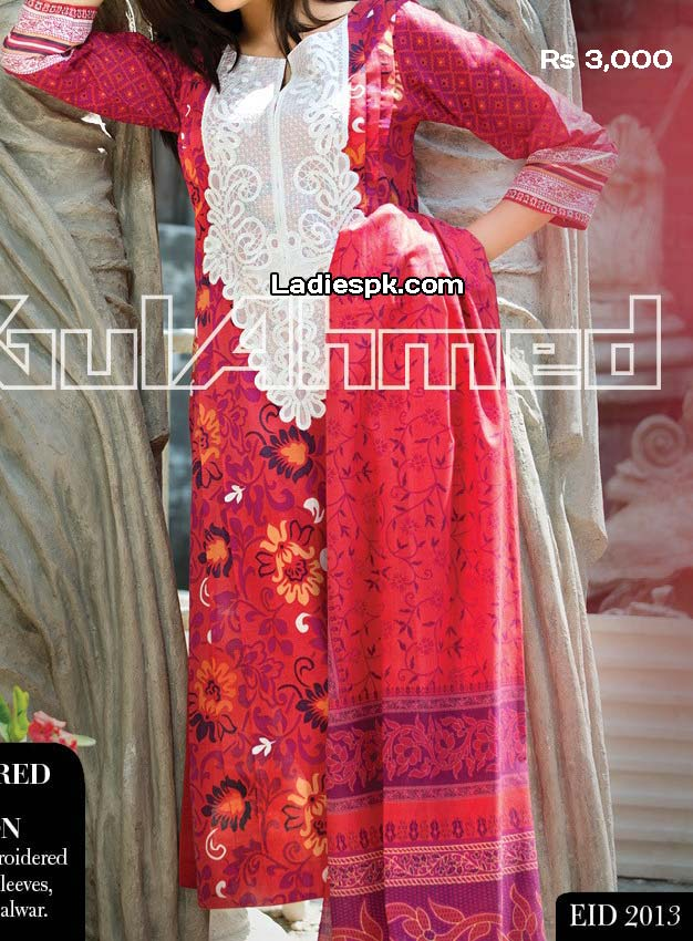 gul ahmed ramadan eid collection 2013 normal lawn 3000 Eid Collection 2013: Gul Ahmed Eid ul Fitr Girls Clothes Design