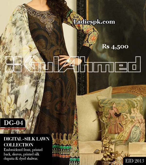 gul ahmed women eid collection 2013 with price digital silk 4500 Gul Ahmed Eid Collection 2013 With Price for Women, Girls