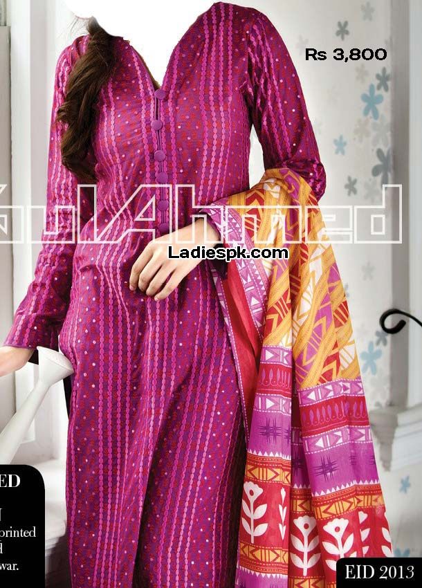 gul ahmed women eid collection 2013 with price embroidered lawn eid 2013 p 3800 Eid Collection 2013: Gul Ahmed Eid ul Fitr Girls Clothes Design