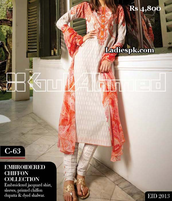 gul ahmed women eid collection 2013 with price la chiffon 4800 eid Gul Ahmed Eid Collection 2013 With Price for Women, Girls