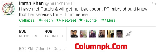 imran khan2 Fauzia Qasoori Will back Soon in PTI: Imran Khan