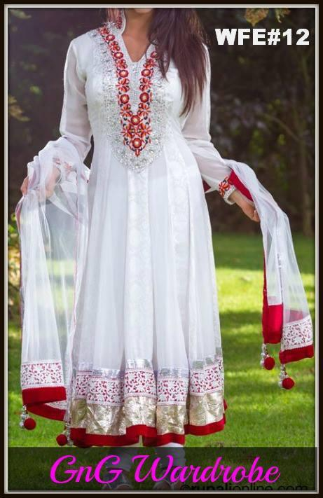 Pakistani Indian Frock Design for EID 2013 White