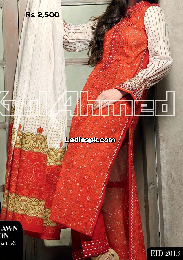 ramadan eid collection 2013 normal lawn 2500 gul ahmed women eid collection 2013 with price Gul Ahmed Eid ul Fitr 2013 Dresses Design for Women & Girls