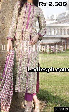 ramzan gul ahmed women eid collection 2013 with price normal lawn 2500 Gul Ahmed Eid ul Fitr 2013 Dresses Design for Women & Girls
