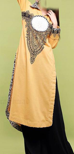 zahra ahmed a line collared shirt with animal printed collar and custom printed neckline 2013 Women Cotton Dress Price 2013 A line collared shirt for Girls