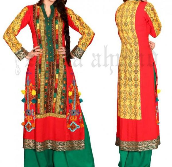 zahra-ahmed-Collared-straight-shirt-Kurta-Kurti-for-Women-Girls-2013