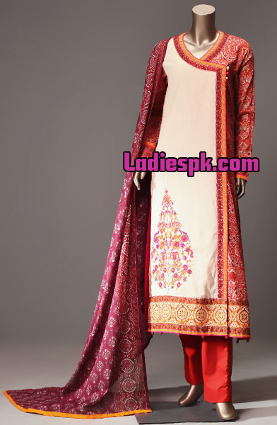 Angrakha-Style-Shirt-Kameez-Design-Kurta-2013-for-Girls-Women-Junaid-Jamshed-Lawn-Collection-2013