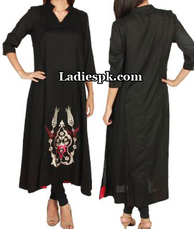 Black-Ego-Clothing-Pakistan-Kurtas-Kurtis-Eid-Collection-2013-A-Line-Style