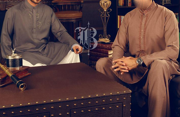 Bonanza-Eid-Collection-2013 For Men Boys Aijazz-Aslam-in-a-neckline-embroidered-Shalwar-Kameez.