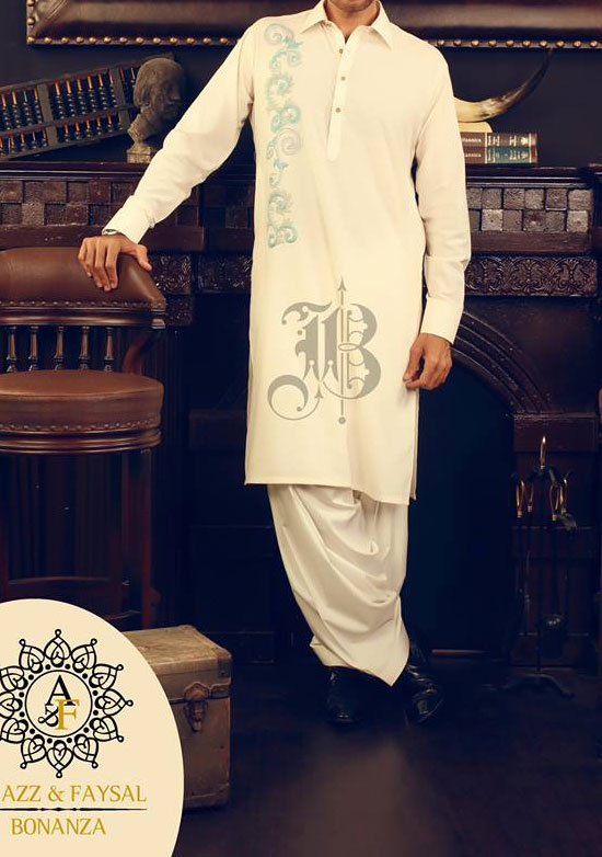 Bonanza Eid Collection 2013 for Men neckline-embroidered-Shalwar-Kameez-Eid