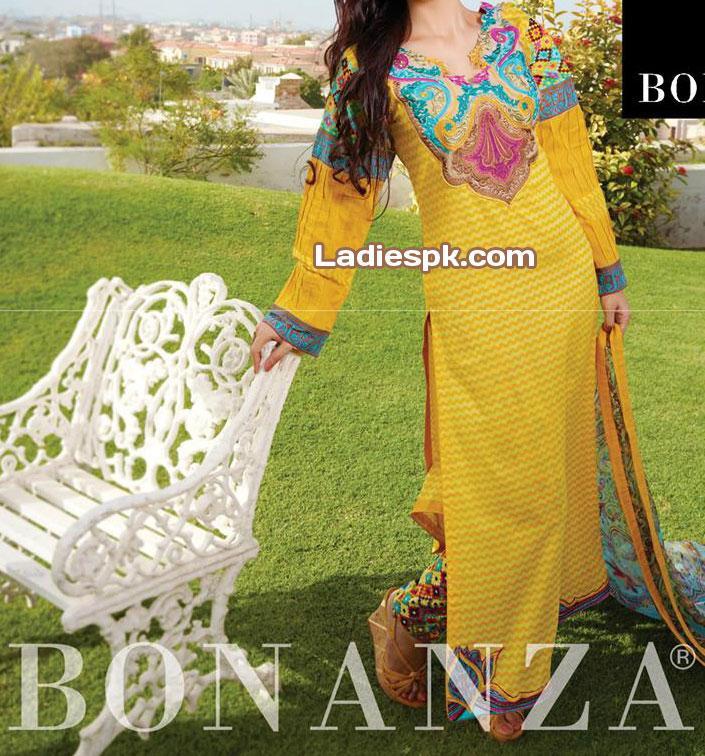 Bonanza-Eid-Collection-2013-trendy-shalwar-trousers-Women-Yellow