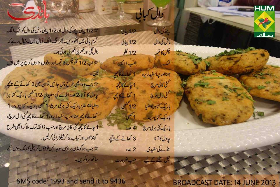 Daal Kabab Recipe in Urdu Handi Masala TV Zubaida Apa
