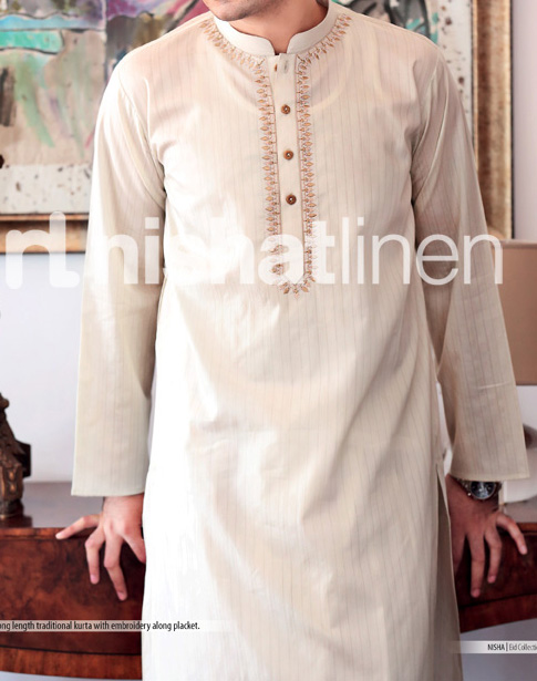 eid fashion naqsh by nishat linen collection 2013 for men Fancy Gents Eid Kurta Design Collection 2013