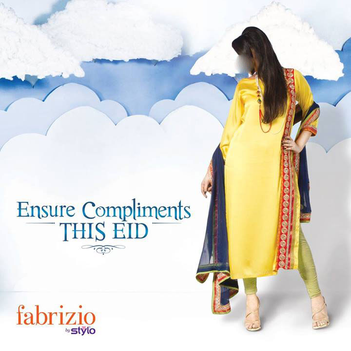 fabrizio by stylo eid collection 2013 for women and girls yellow Fabrizio by Stylo Eid Collection 2013 For Women & Girls