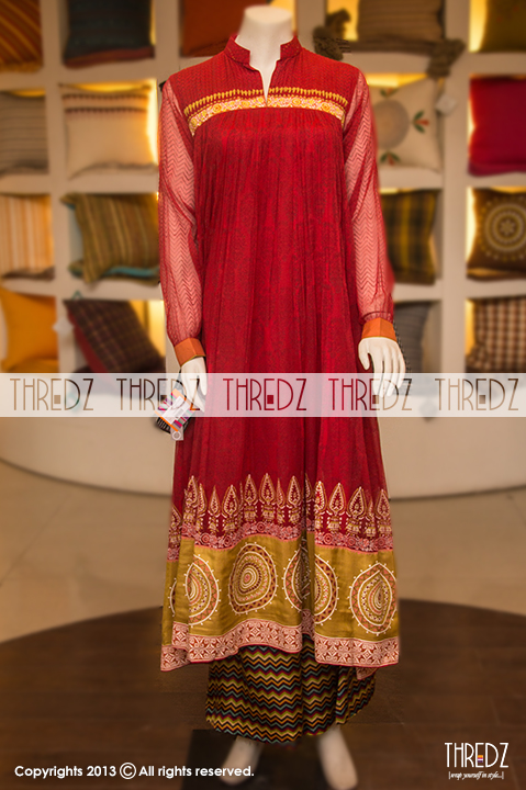 Fancy boutique Thredz-Eid-Dresses Collection-2013-for-Women Girls Red Block Print Chiffon Single Kurta