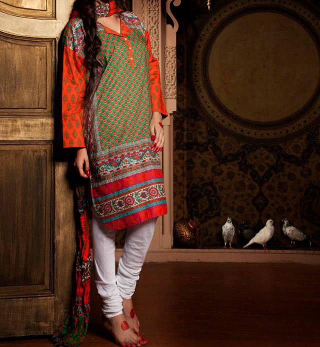 Khaadi-Lawn-Indian-Collection-Long-Shirt-With-Choori-Pajama-Tight-Churidar-Pyjama