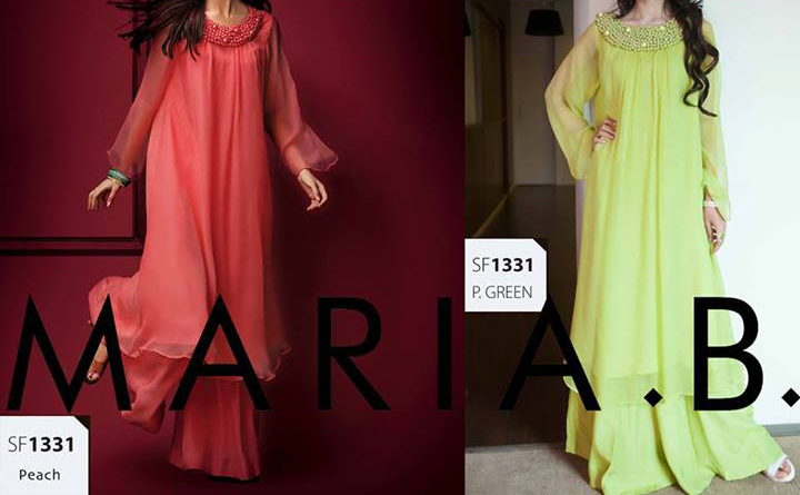 Latest maria b eid collection 2013 Double Shirt Frock in Pakistan