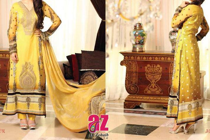 mahnoor exclusive eid collection 2013 for women and girls yellow lawn Mahnoor Lawn Eid Collection 2013 for Women   Al Zohaib