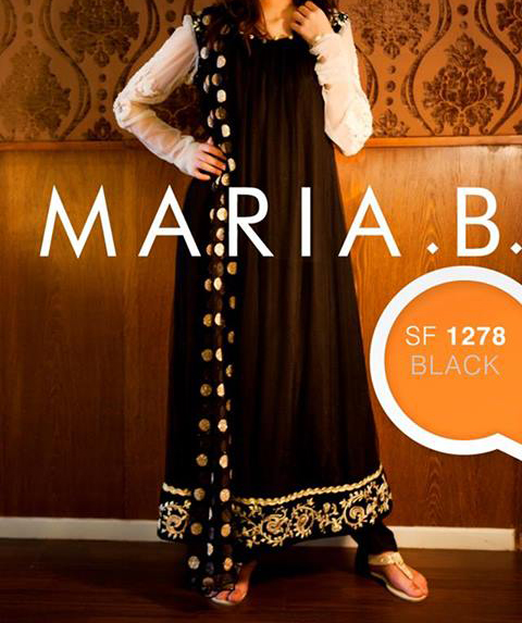 maria b eid collection 2013 for Women and Girls Black and White Dress