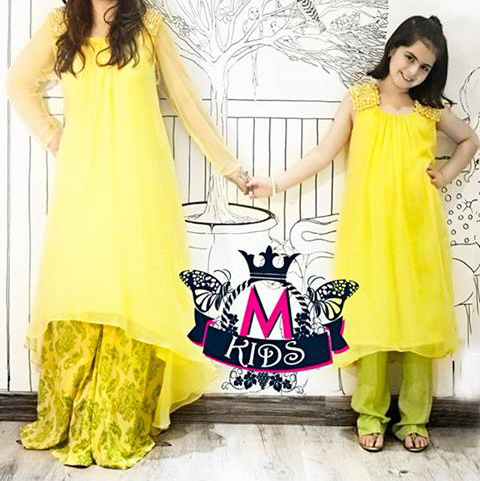 maria b eid collection 2013 tail dresses in pakistan yellow Maria B Kids Eid Collection 2013: Children Dress Boys & Girls