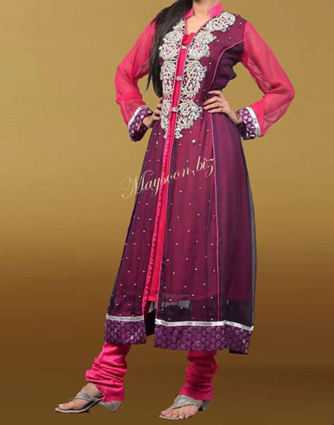 Maysoon-Eid-Collection-2013 double shirts designs pakistani Open Frock