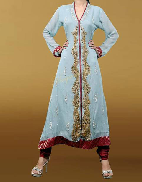 maysoon eid collection 2013 open shirt design wedding dress Open Shirt Frock & Kameez Designs For Girls in Pakistan 2013