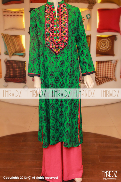 thredz eid collection 2013 for women with prices rs4995 green Thredz Eid Collection 2013 for Women & Girls with Prices