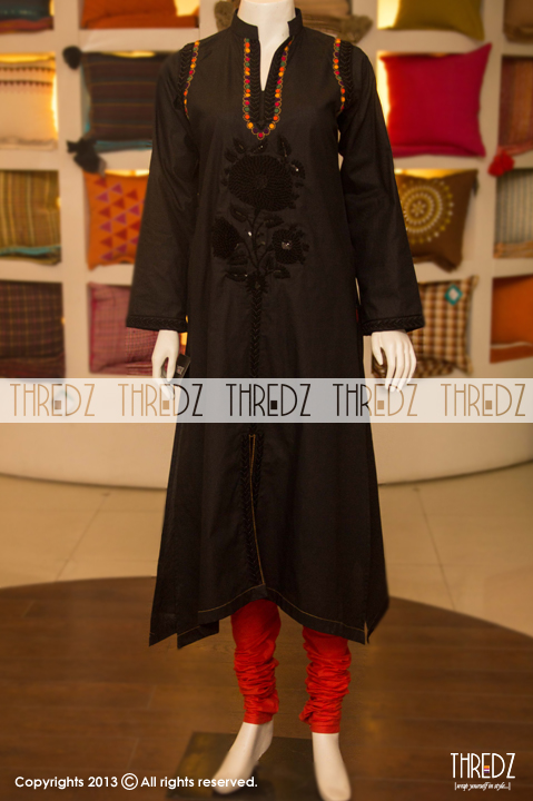 thredz eid collection 2013 for women with prices rs6595 04 black kurta Thredz Eid Collection 2013 for Women & Girls with Prices