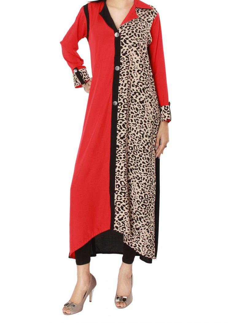 Grapes-Dark-Red-Linen-Ladies-Side-Printed- collar Kurta 2013