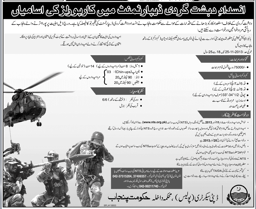 Jobs in Anti Terrorist Force Punjab