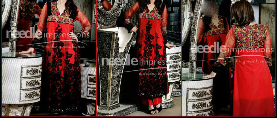Needle-Impressions Dresses Winter Collection 2013 2014 for Women Red