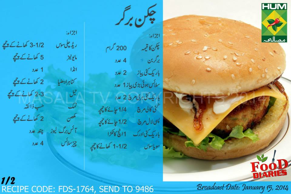 Chicken Burgers Recipe in Urdu