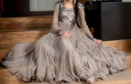 Latest Fashion Frocks With Churidar Pajama Designs 2014 for Girls