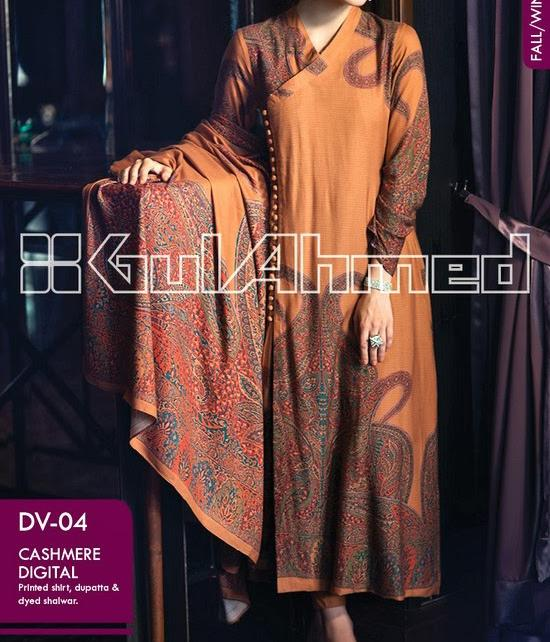 Gul Ahmed WINTER COLLECTION 2014 for Women Lon Kameez Fashion