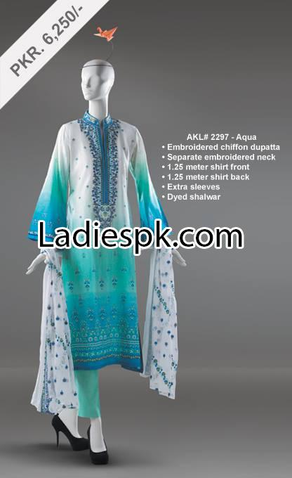 Al Karam Lawn Prices 2014 Summer Collection Long Kameez Shalwar for Women