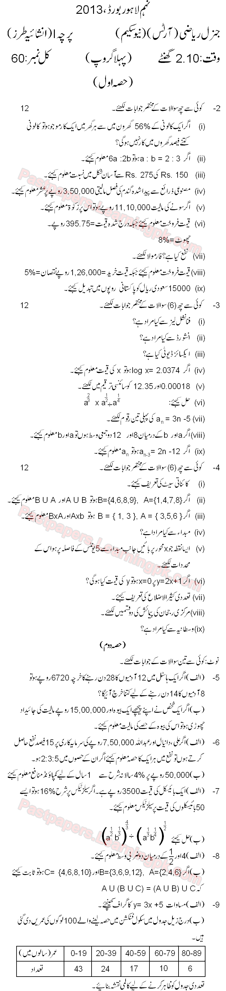 Lahore Board 2013 9th Class Math Past Paper 5 Year Old Guess