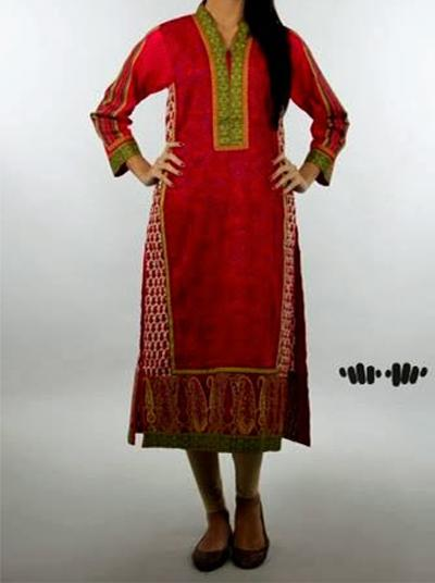 latest long kameez with tight pajama fashion trend 2014 for girls Latest Long Shirt & Kameez with Pajama Fashion 2014 for Girls