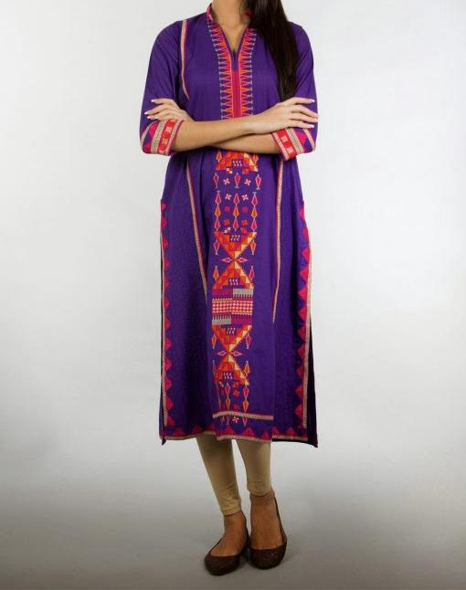 latest long shirts with tight pajama fashion trend 2014 for women Latest Long Shirt & Kameez with Pajama Fashion 2014 for Girls