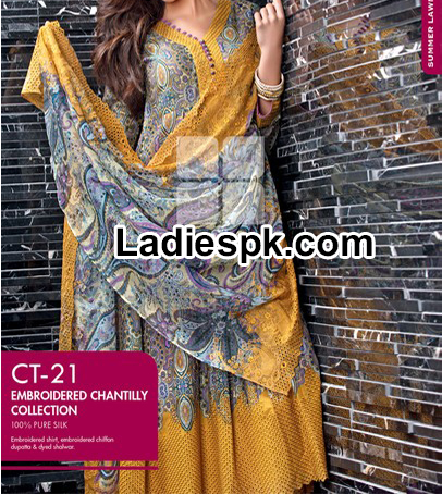 Gul Ahmed Summer Fancy Silk dress Collection 2014 with Prices  5500