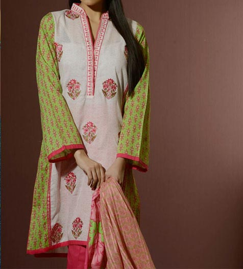 Alkaram Lawn Eid Collection 2014 Catalogue for Women Girls Shalwar Kameez Fashion Trends Price Rs. 4,150