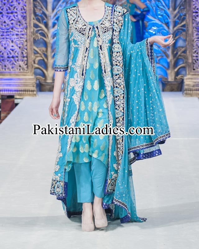 Beautiful Mona Imran Bridal Collection at London Fashion Week 2014 frock Pakistani Indian Designer Bridal Lehenga with Choli Open Shirt
